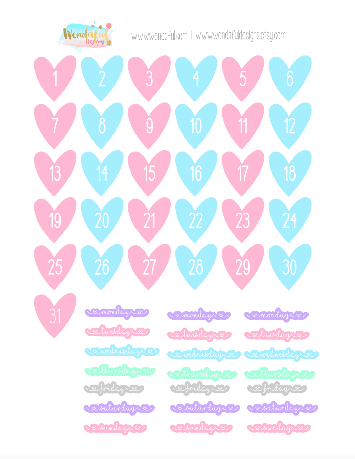 Free Heart Dates Stickers