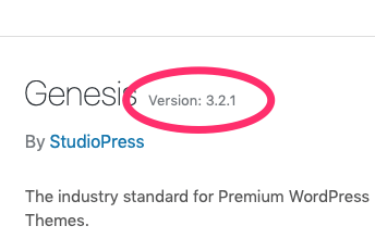 Clicking the Theme Details button shows what version of the Genesis Framework your site is using