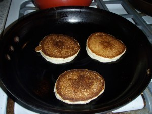 Three little pancakes, sitting in a pan...