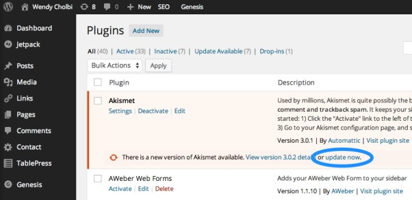 """Figure 2: Plugins with new available versions are highlighted and include an """"update now"""" link."""