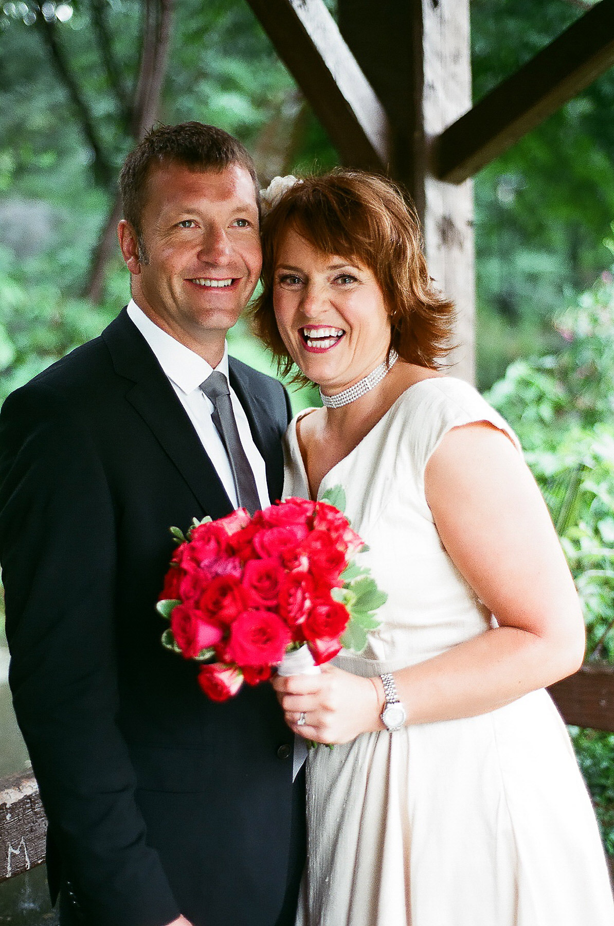 elopement wedding day photo of couple smiling by wendy g photography