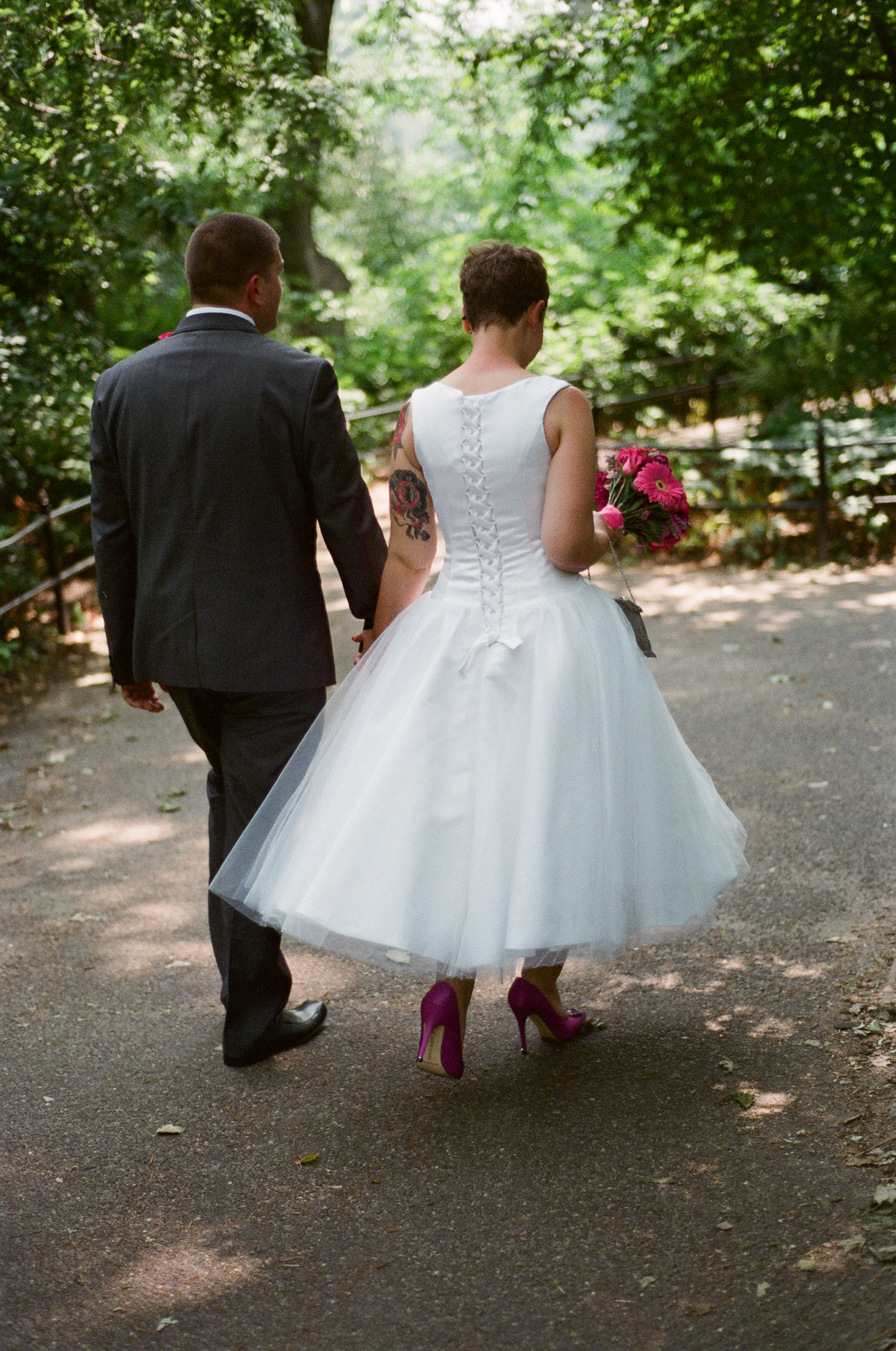 nyc central park mini wedding photo of bride in short dress by wendy g photography