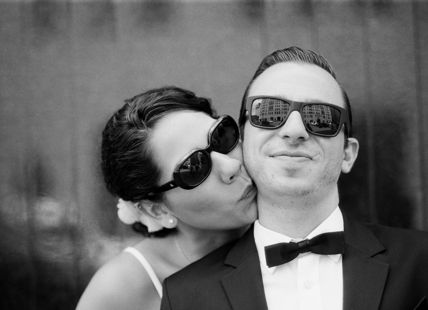 black and white nyc elopement wedding couple wearing sunglasses by wendy g photography