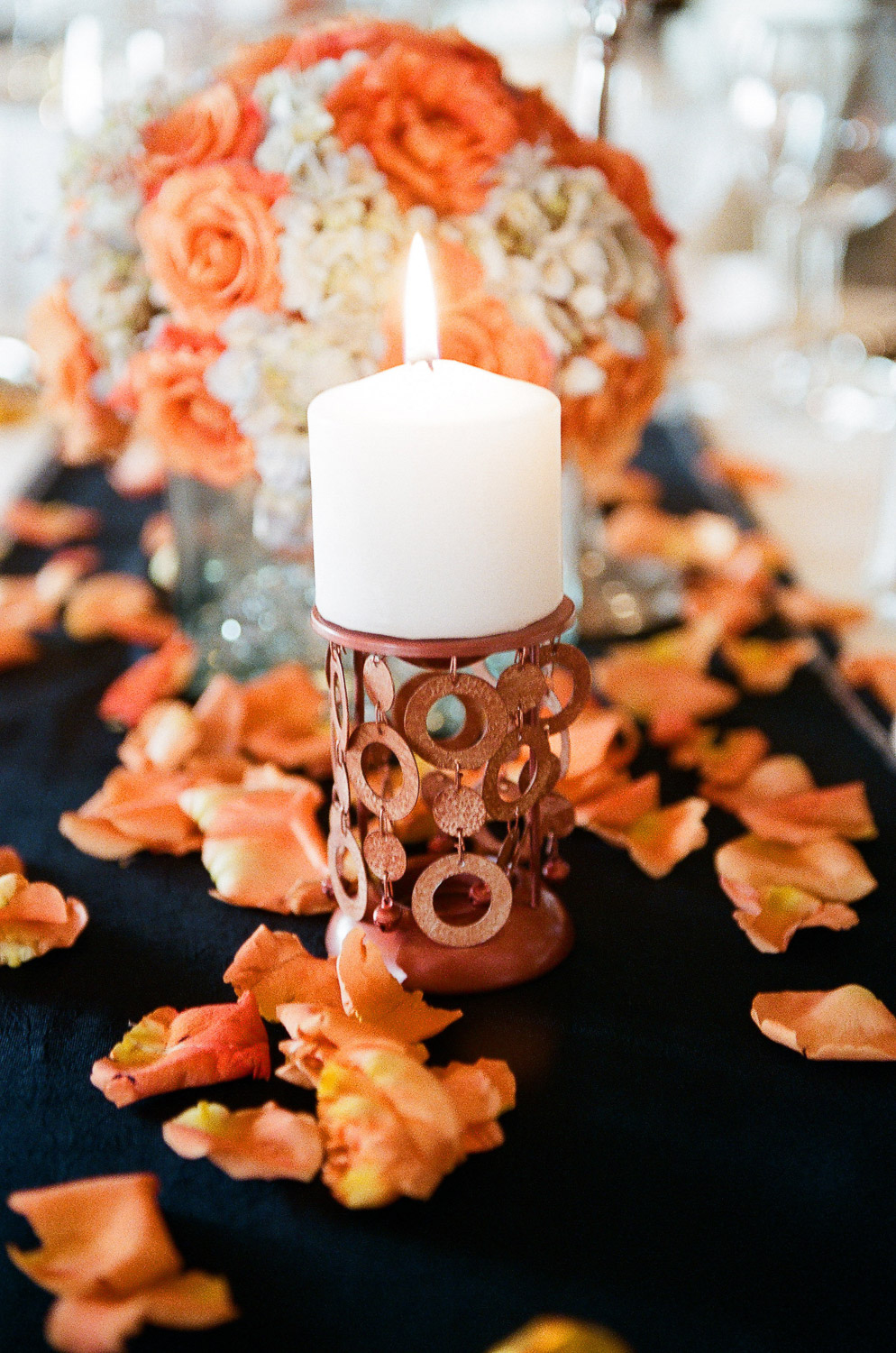 india wedding decor candle and flower petals by wendy g photography