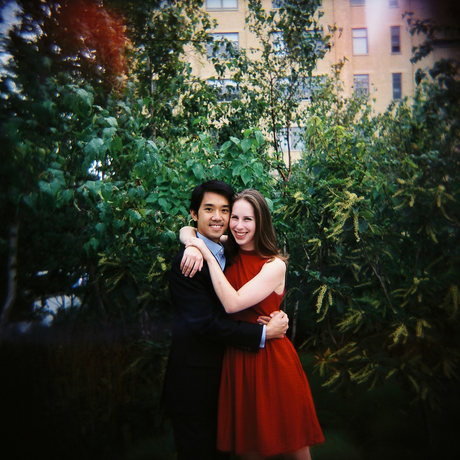 holga engagement portrait at high line taken by nyc wedding photographer wendy g