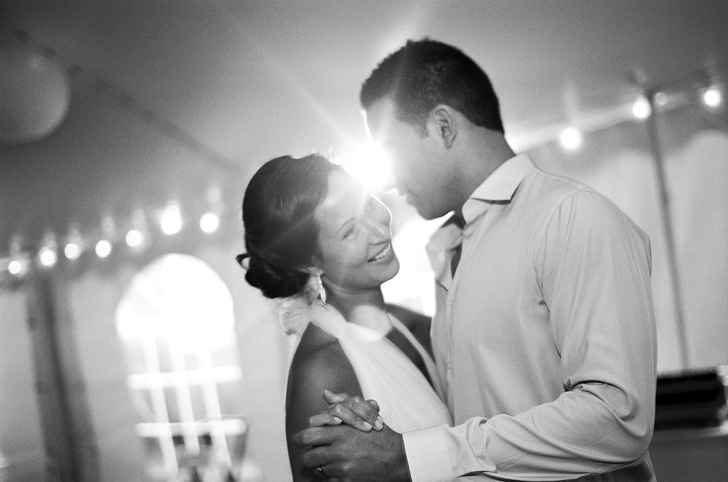 black and white photo of couple's first dance in Cape Cod taken by nyc wedding photographer wendy g