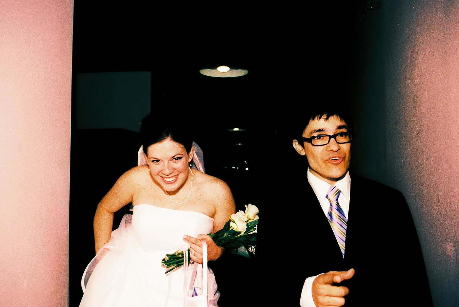 cross processed photo at office ops wedding