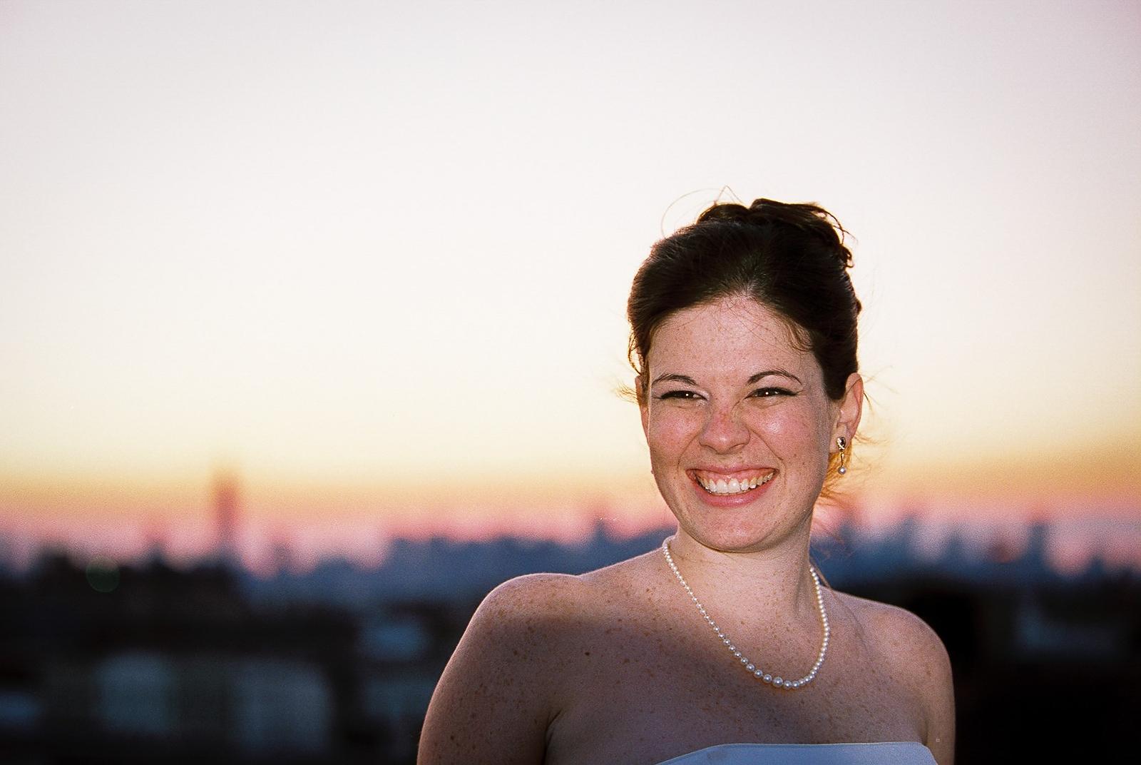 bride at rooftop wedding