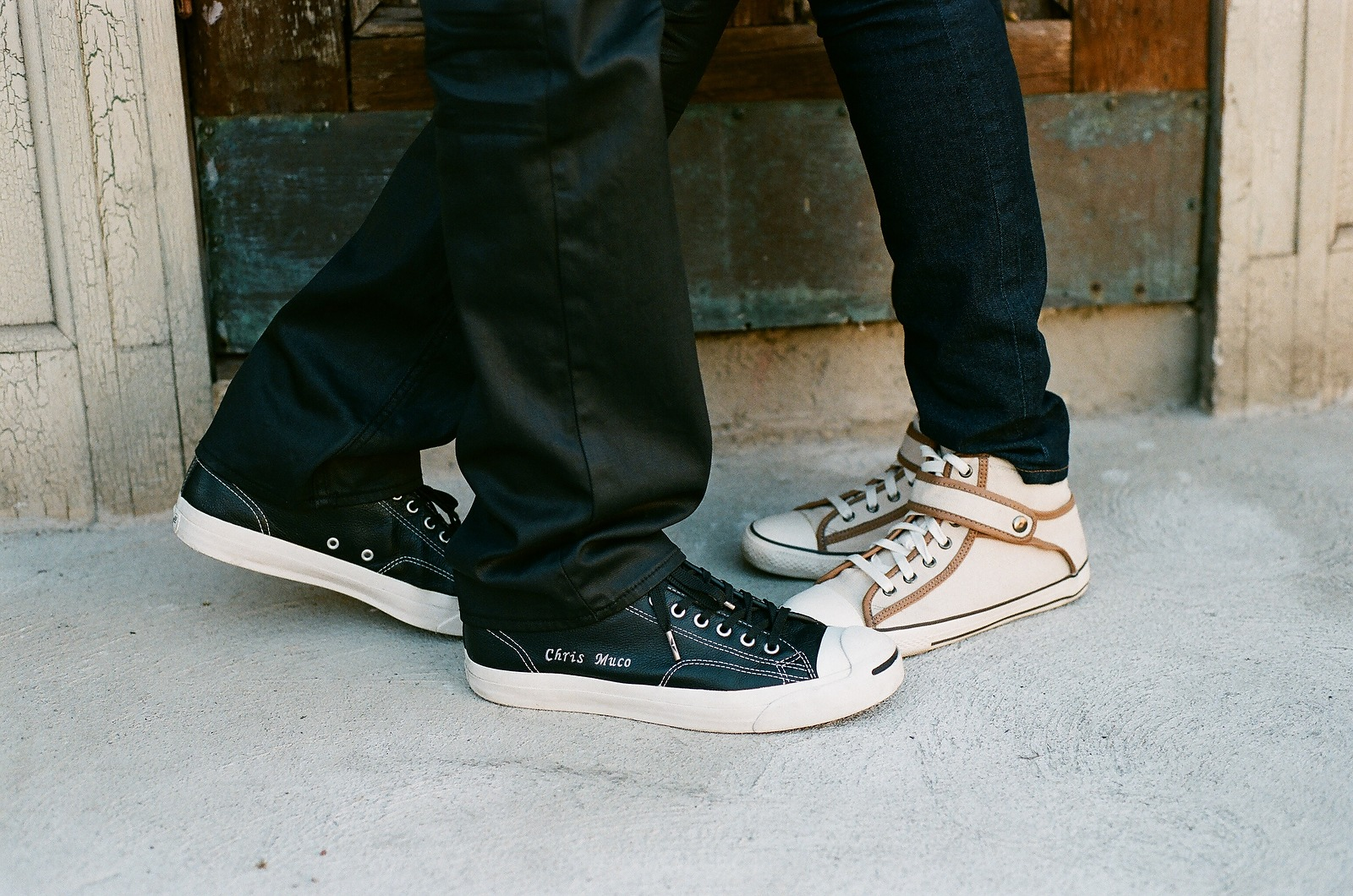 custom matching converse sneakers engagement photo nyc