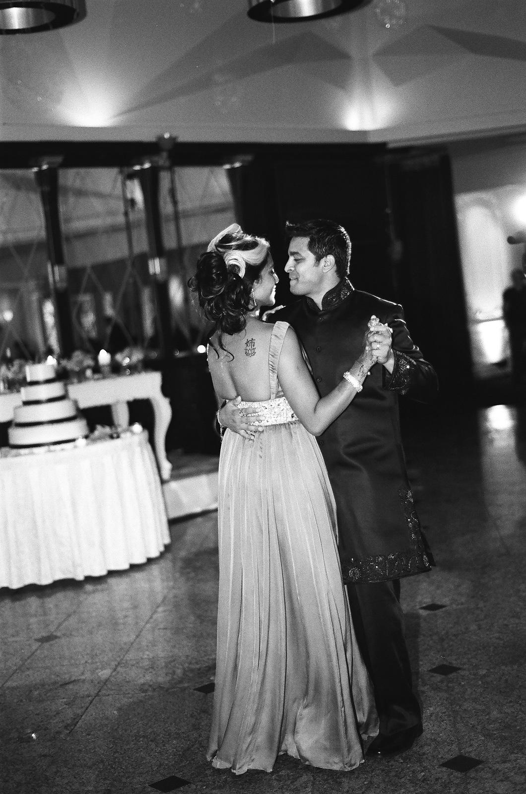 black and white photo indian wedding couple