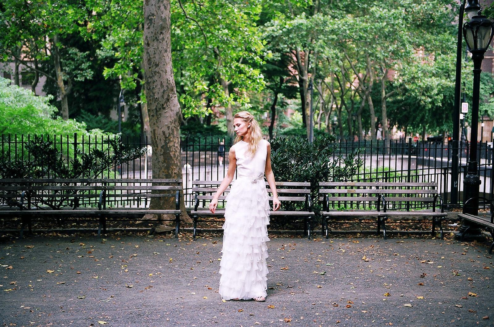 bridal fashion portrait in garden