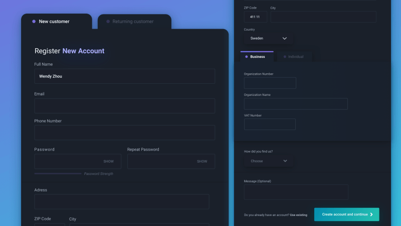 Dark Mode UI Form Design
