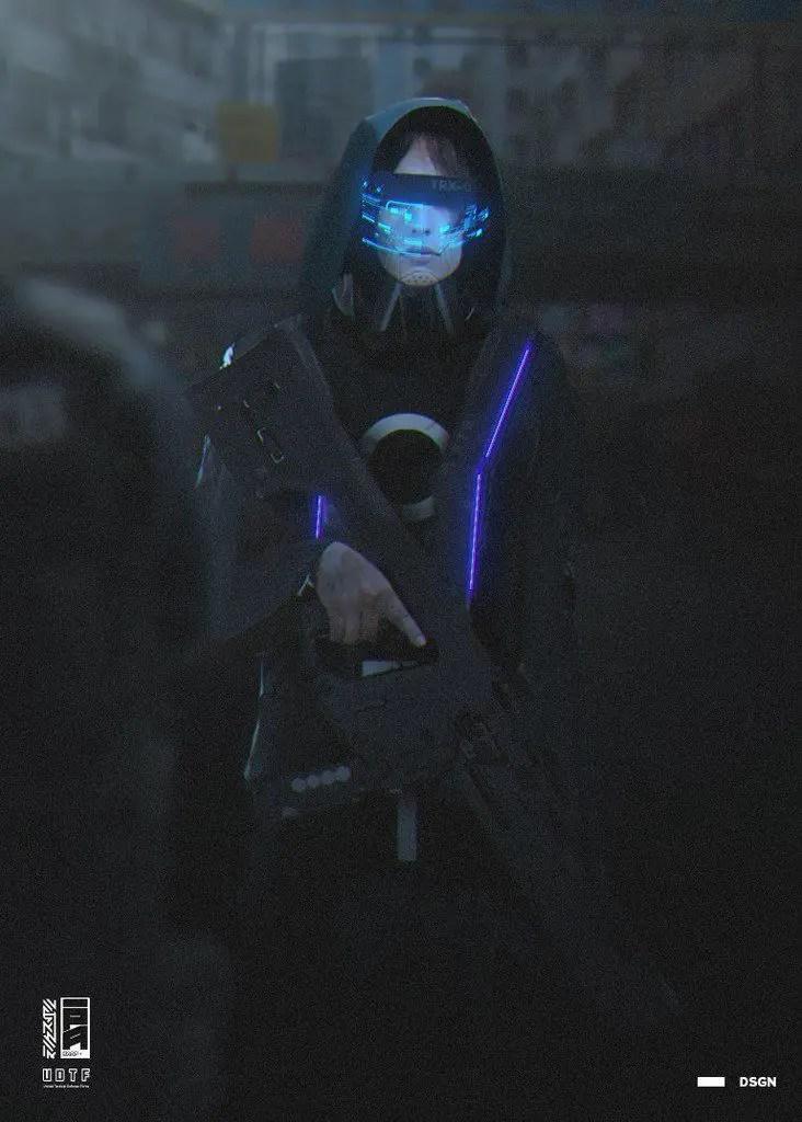 Cyberpunk futuristic glasses with hologram