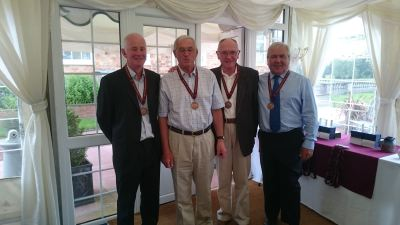 Mens Bronze Medalists: Alan Gilhooley, Michael Oliver, Malcolm Bowen and Mel Holdnall,