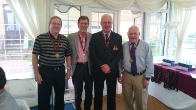 Mens gold medalists: Bill Hart, Bob Jones, Allan Coates and Derek Wheatley