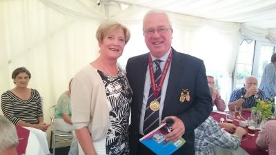 Allan Coates - the 'Hole-in-One' star with Worfield Ladies Captain - Paulette Morris