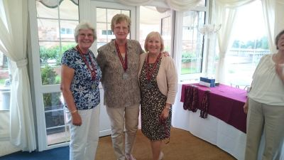 Ladies silver medalists: Jenny Cousins, Val Holdall and Beryl Baker (Dorothy White missing)