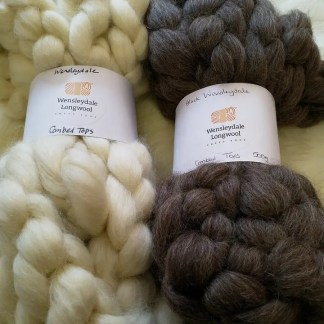 Wensleydale Combed Tops - undyed Natural and Natural Black
