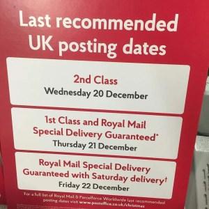 Royal Mail last posting dates for Christmas 2017