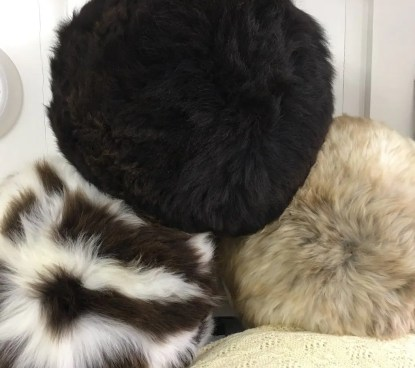 Sheepskin Footstools end view