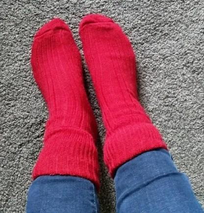 Sheep Shop mohair socks modelled