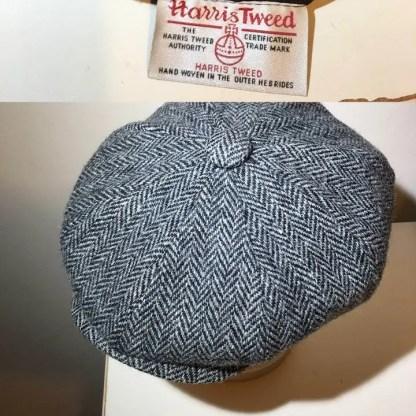 Harris Tweed grey herringbone Peaky Flay Cap with label shown