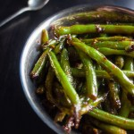 green beans with spicy chilies in bowls, stir fried green beans, sichuan green beans