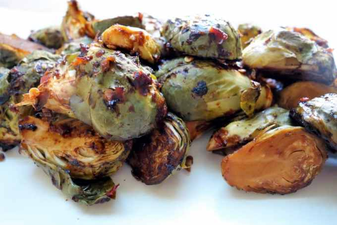 Asian Inspired Chili Roasted Brussels Sprouts