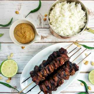 Indonesian Style Beef Satay with Spicy Peanut Sauce