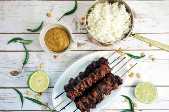 Indonesian Style Beef Satay with Peanut Sauce