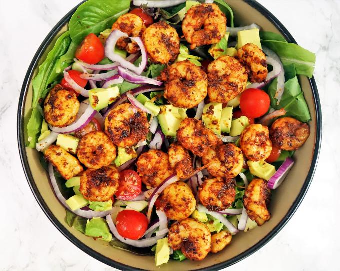 Spicy Blackened Shrimp Salad with Mango Dressing