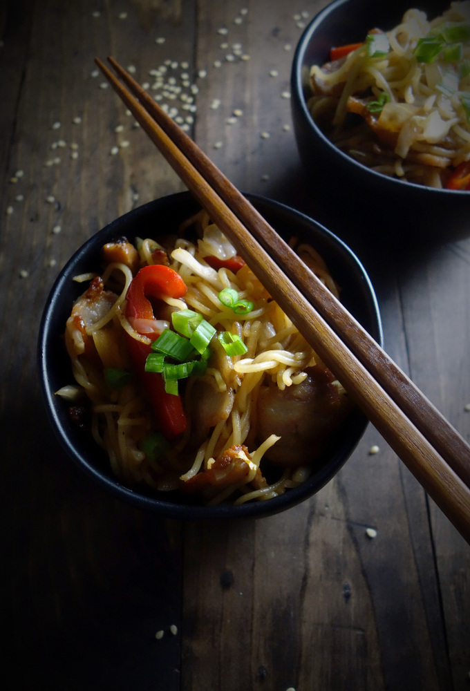 Crispy Pork Belly Yakisoba Noodles