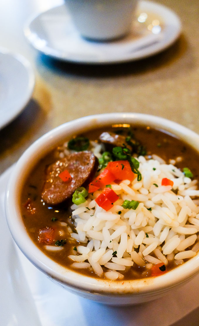 best cajun food in downtown san diego, cup of gumbo with rice