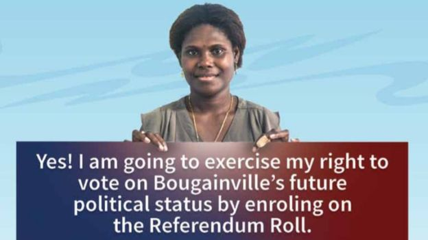 A poster encouraging Bougainvilleans to register to vote
