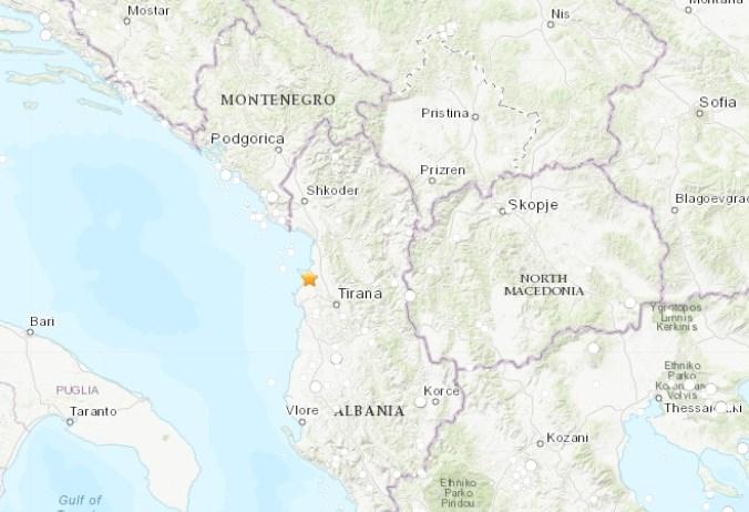 阿爾巴尼亞26日發生數十年來最強烈地震,規模6.4,首都地拉那有感。(圖取自earthquake.usgs.gov)