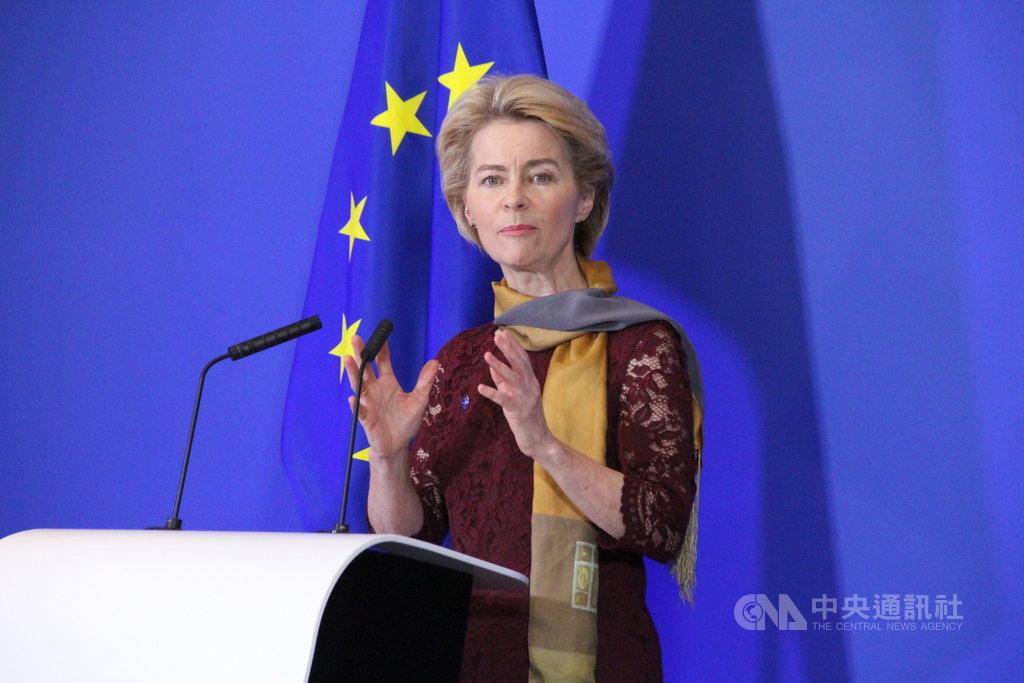 歐盟執委會史上首位女主席范德賴恩1日正式上任,她強調將打造一個更強大的聯盟,讓歐洲成為冠軍。中央社記者唐佩君布魯塞爾攝 108年12月1日
