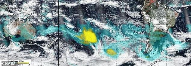 卫星图:澳洲烟雾已接近绕地球一周返回澳洲(组图)