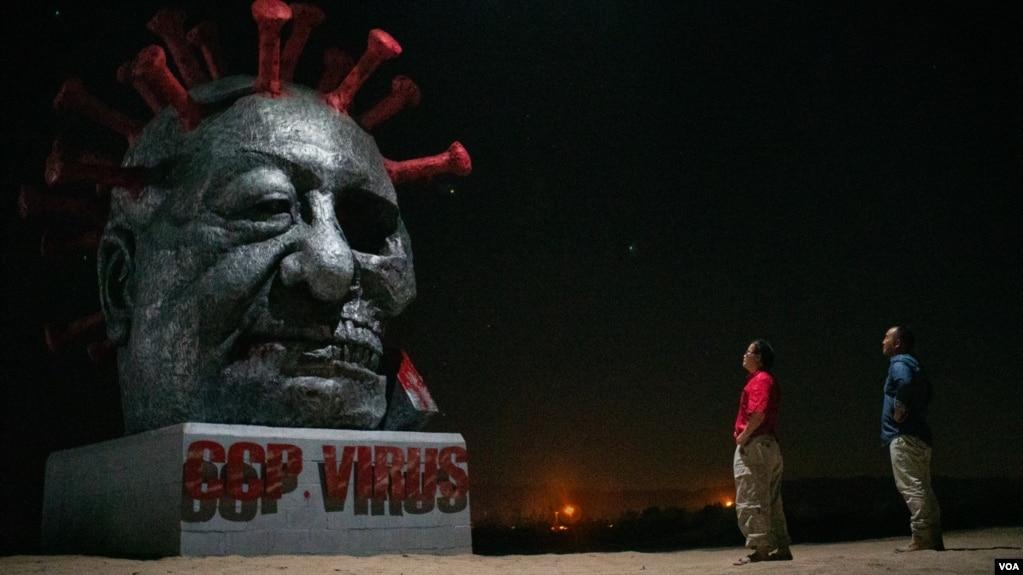 加州州际公路旁立起习近平为蓝本的雕像 专人看守