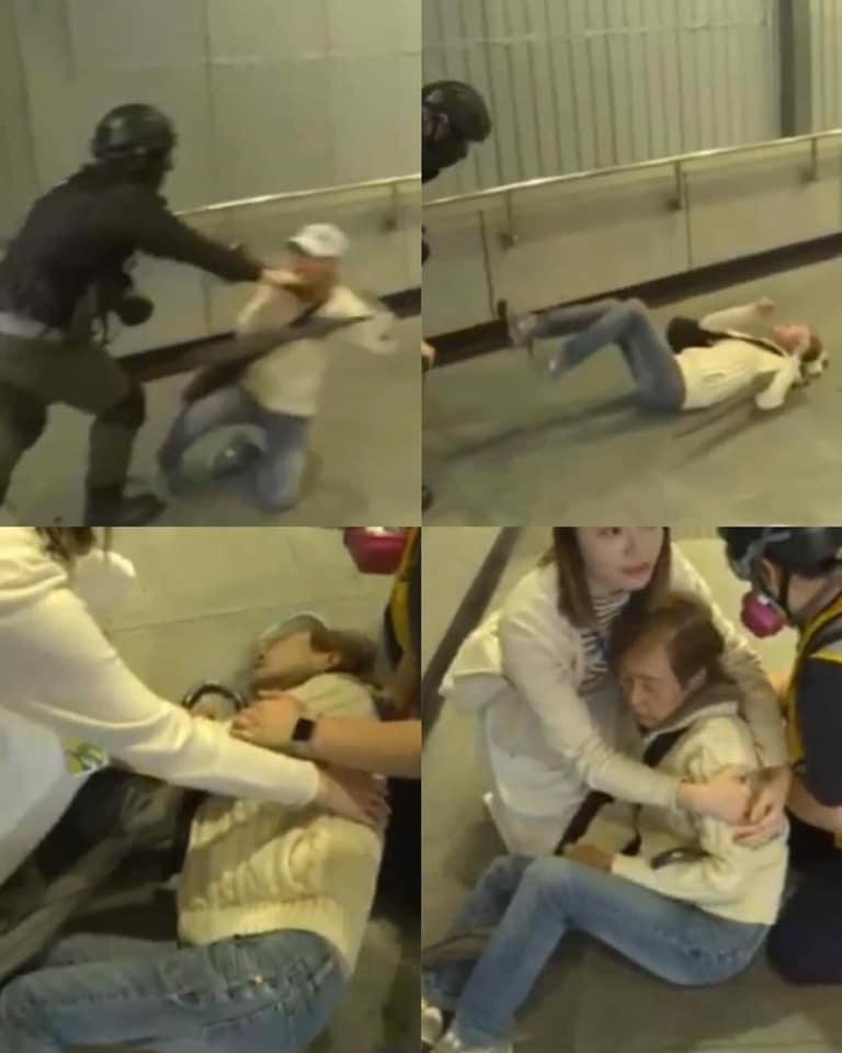 老妇跪地遭警推倒 她说:港人想守护彼此(图)