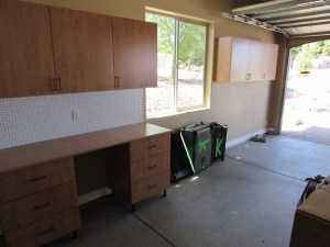 Candlelight Garage workbench with overheads