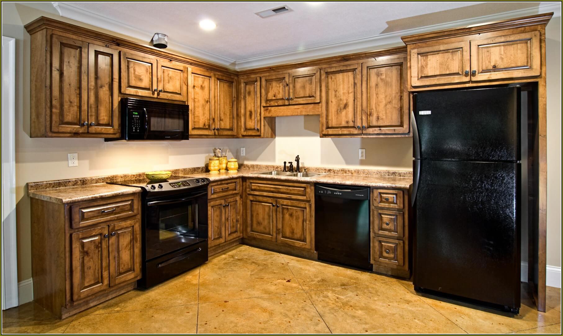 dark-knotty-alder-kitchen-cabinets - We Organize-U