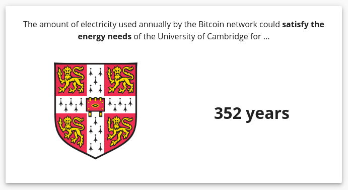 The number of years cambridge could run on 1 year of Bitcoin power consumption