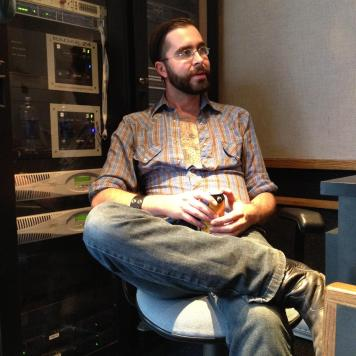 Ryan in the mobile recording truck. Recording Ghost Notes - September 13-16, 2012