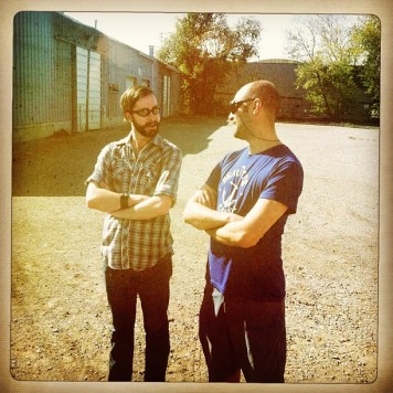 Kerem and Ryan in the sun. Recording Ghost Notes - September 13-16, 2012