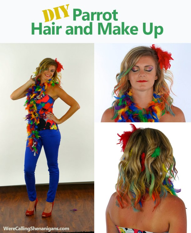 10 clever last minute homemade costumes were calling shenanigans diy parrot hair and make up solutioingenieria Gallery