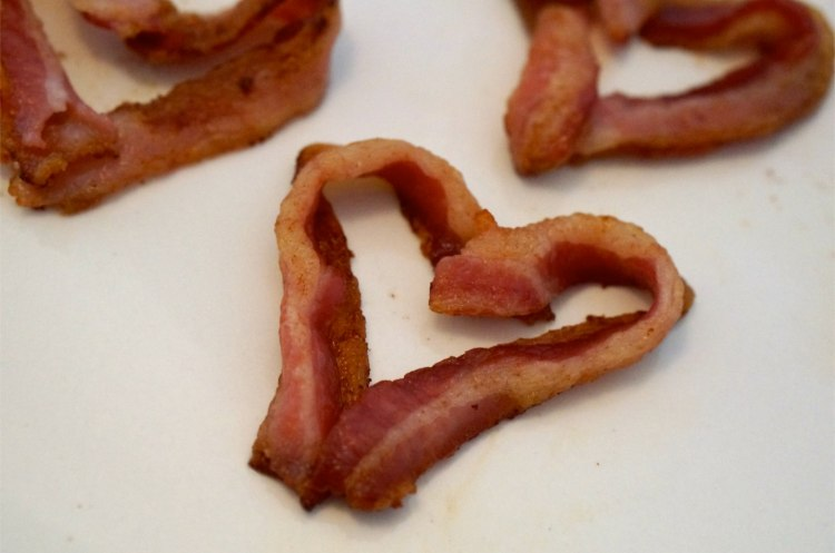 bacon shaped like hearts