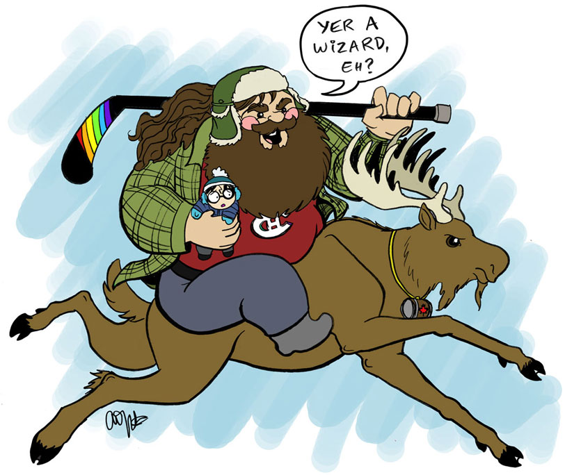 canadian hagrid on a moose carrying harry potter with a rainbow hockeystick courtesy of weregeek