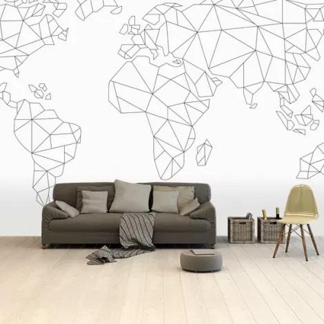 Wereldkaart Geometrisch - lijn behang