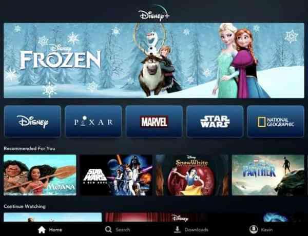 Disney Plus beginscherm