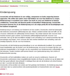 Screenshot website Groenlinks per 05-09-2013